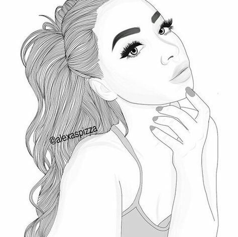 white, draw, girl, illustration, outlines, tumblr, by hand | Drawings ...
