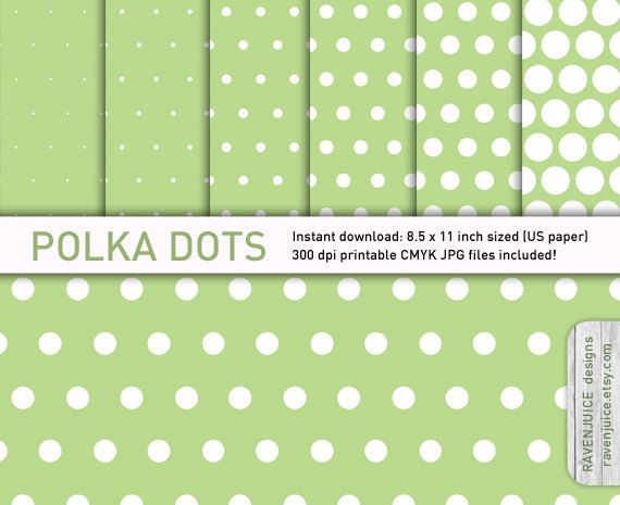 Polka dot paper pack digital paper 6 styles by RavenJuice on Etsy - dot paper template