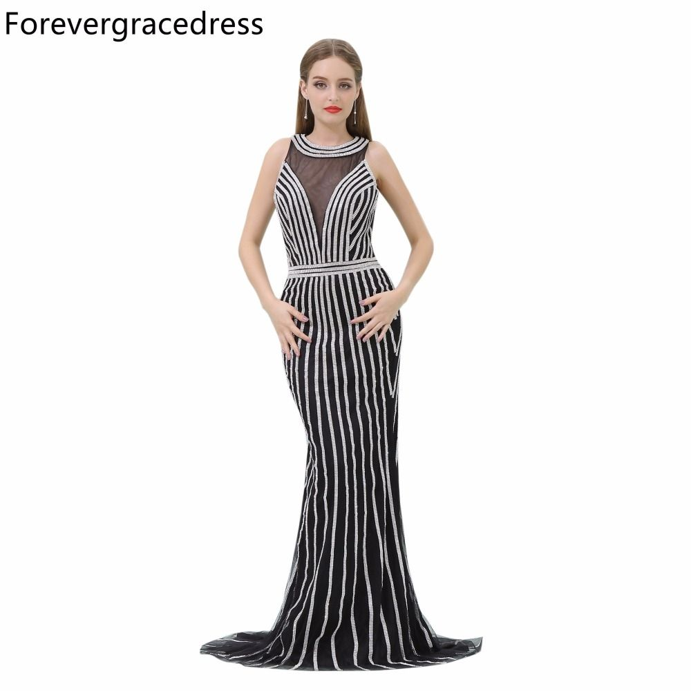 Forevergracedress Luxury Prom Dress Sleeveless High Quality Beaded Long  Evening Party Gown Plus Size Custom Made 9a2ad66c9d2b