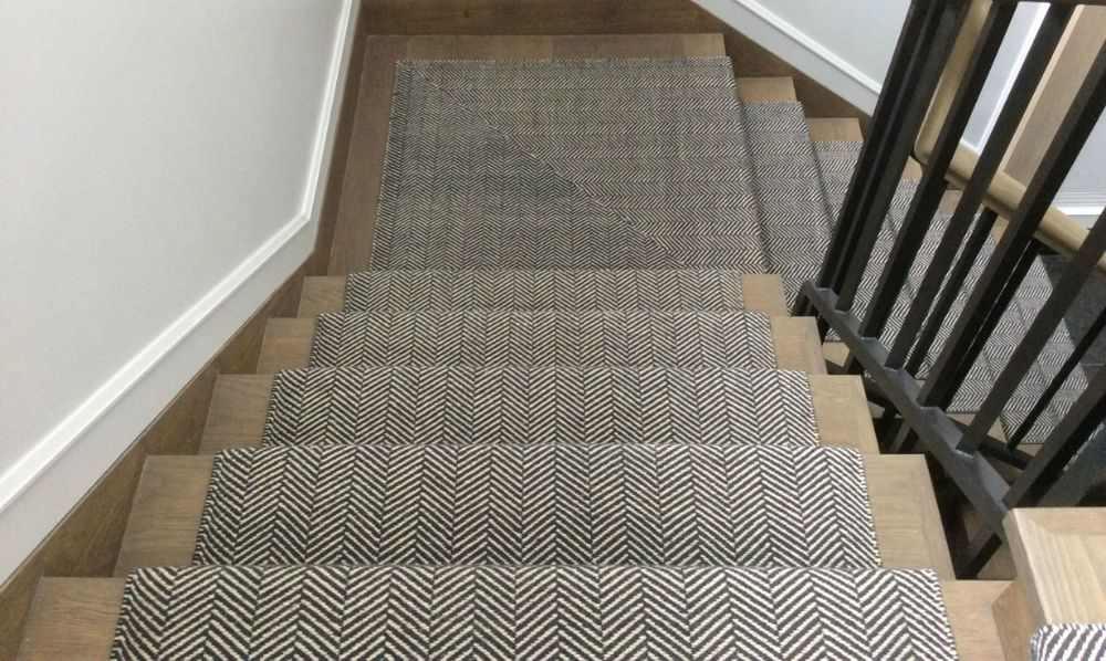 Herringbone Hand Woven With Wool Stair Runner Carpet Hallway