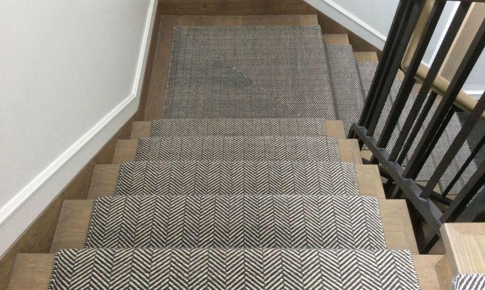 Herringbone Hand Woven With Wool Stair Runner Carpet Hallway   Grey Herringbone Carpet Stairs   Living Room   Flat Weave   Hartley   Patterned   Modern
