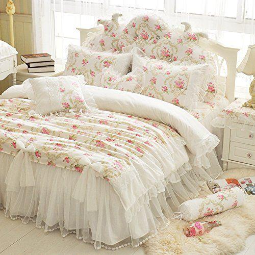 Buy Lelva Girls Bedding Set Lace Ruffle Duvet Cover Princess