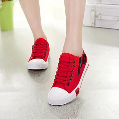Womens Shoes Fabric Flat Heel Comfort Round Toe Fashion Sneakers Casual  Black Blue Red White