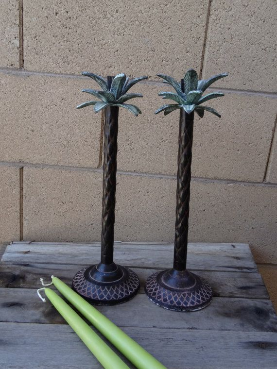 Vintage Pair Metal Palm Tree Candlestick Holders By Tiesofmyfather