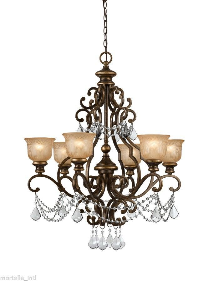 English Estate Style Chandelier Light Wrought Iron W Clear