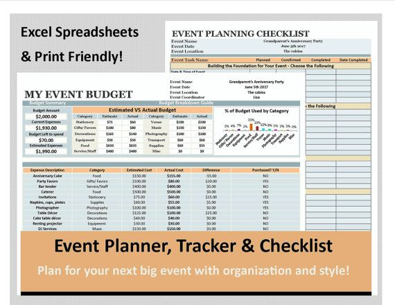 Event Planning Excel Planner Tracker and checklist Wedding - events planning template