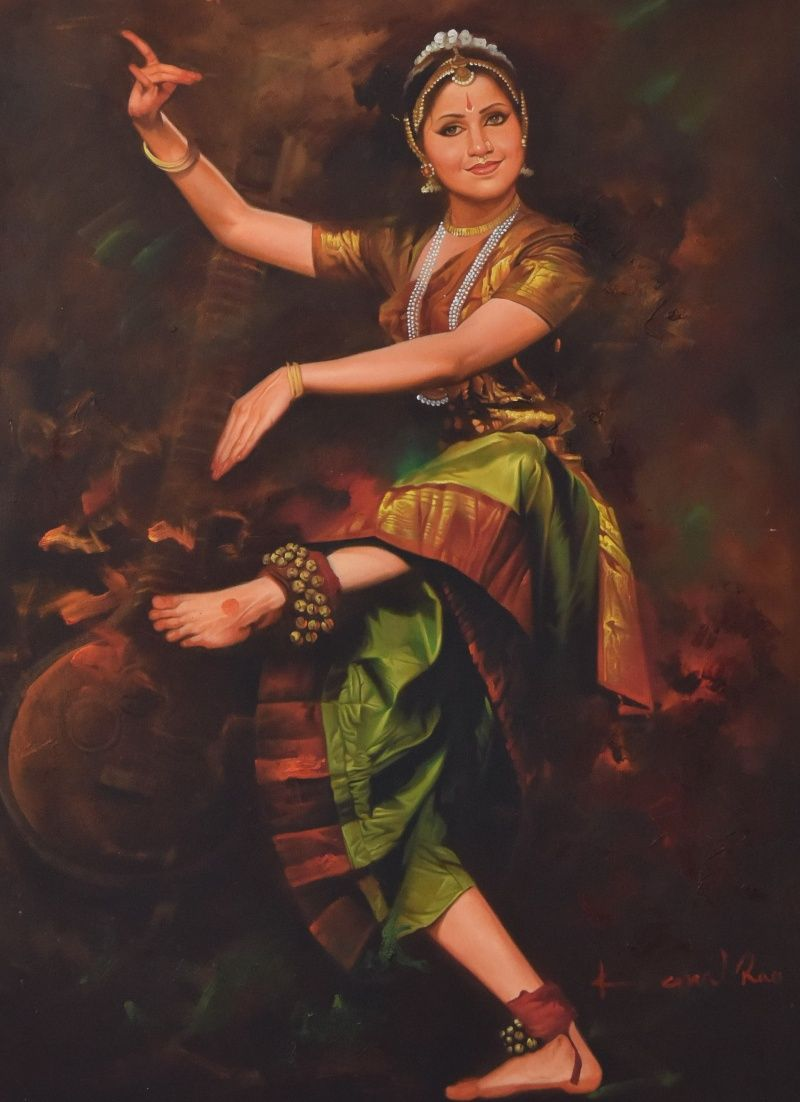Dancing Lady Painting By Kamal Rao Artzolo Com Dancer Painting Indian Women Painting Indian Art Paintings