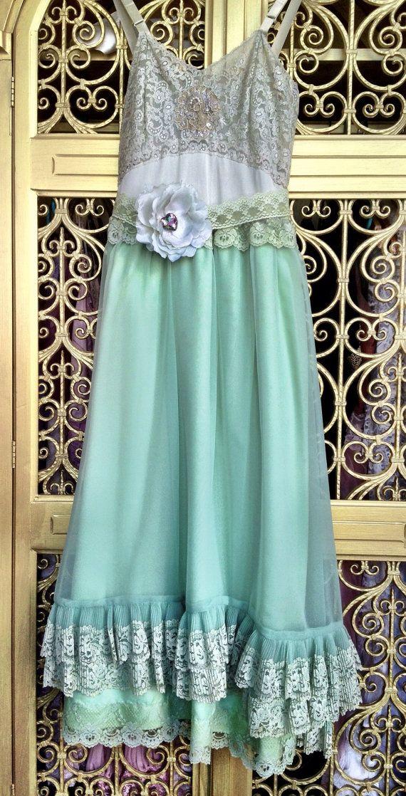 mint sea foam & pale sage lace and chiffon ruffled boho prom brides maid dress by mermaid miss k. $140.00, via Etsy.