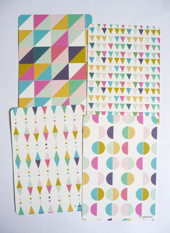 Cards - Geometric and colors - 8 postcards by mademoiselleyo on Etsy, $10