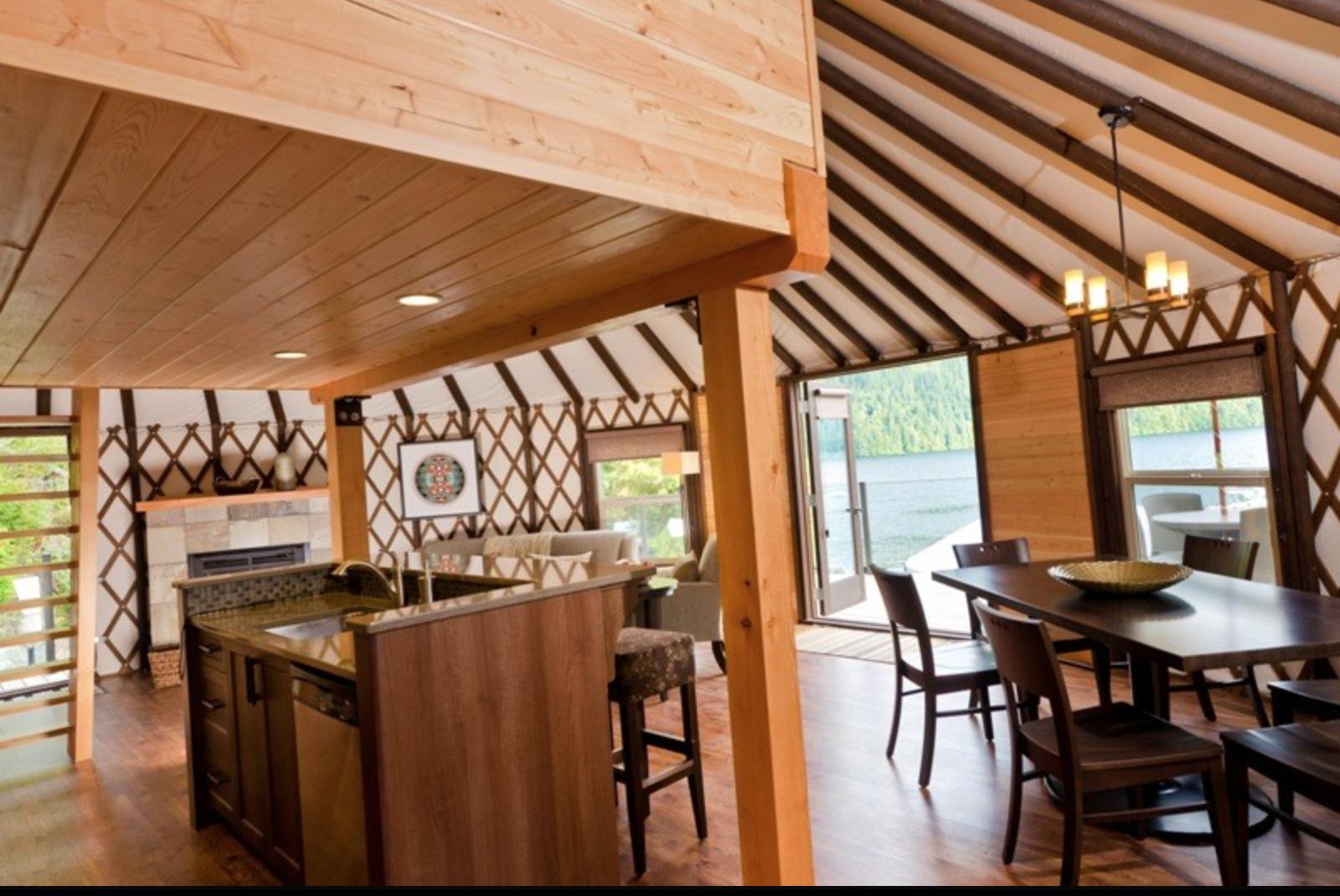Yurt design with loft & kitchen   Yurt interior, Yurt home ...