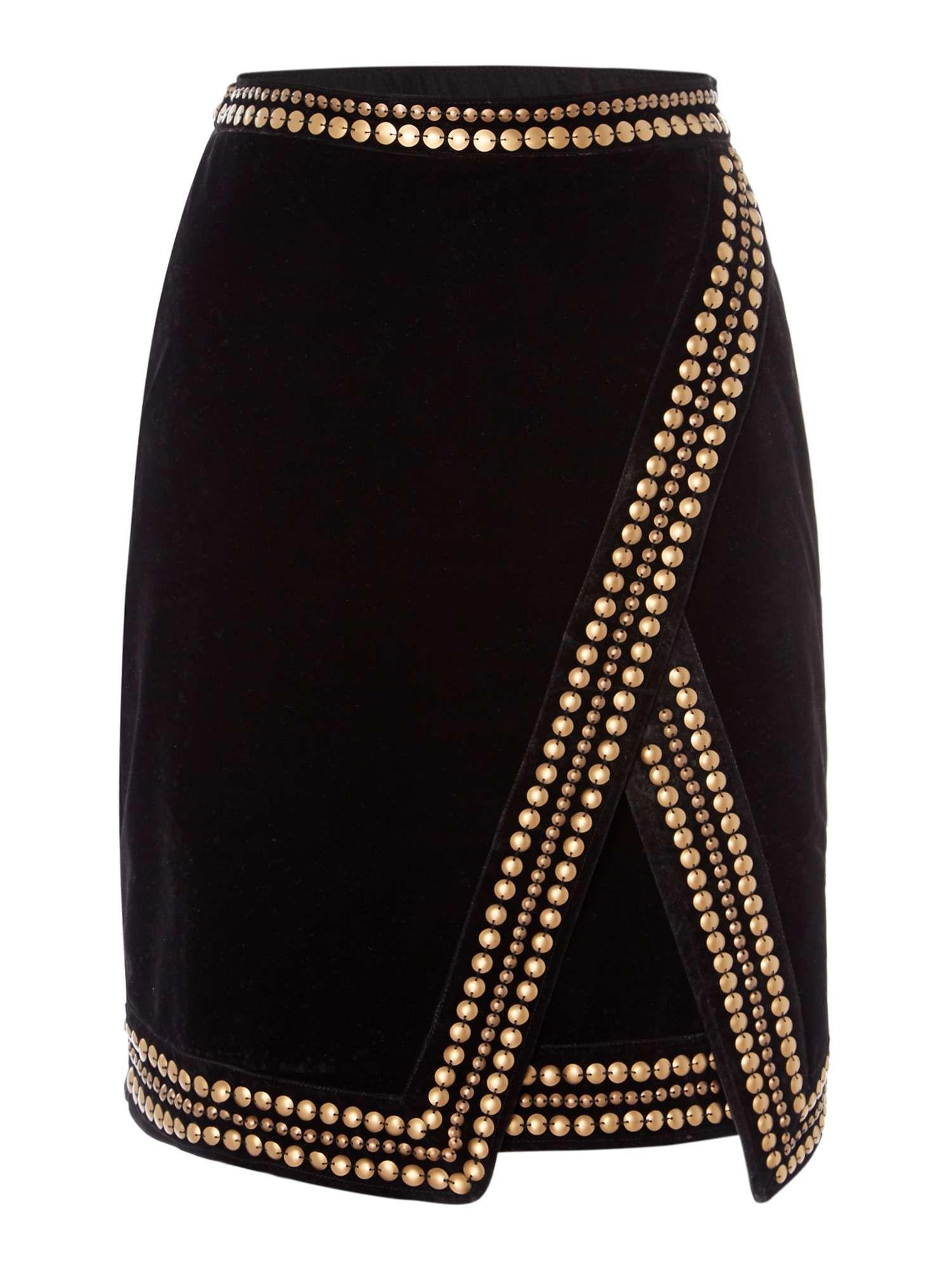 853ea0a26f 89 - House of Fraser - Biba Velvet Studded Skirt in Black | Pretty ...