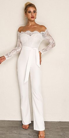 Pin By Joy Mitchel On New Fashion Style White Lace Jumpsuit Wedding Dress Jumpsuit Wedding Jumpsuit