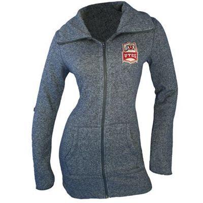Utah Utes Womens Boyfriend Full Zip Sweatshirt
