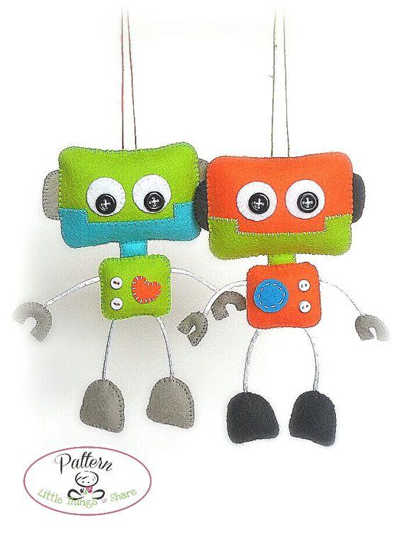 Smiley Robot-PDF sewing pattern-Cute Robot toy-DIY-Handmade plush ...