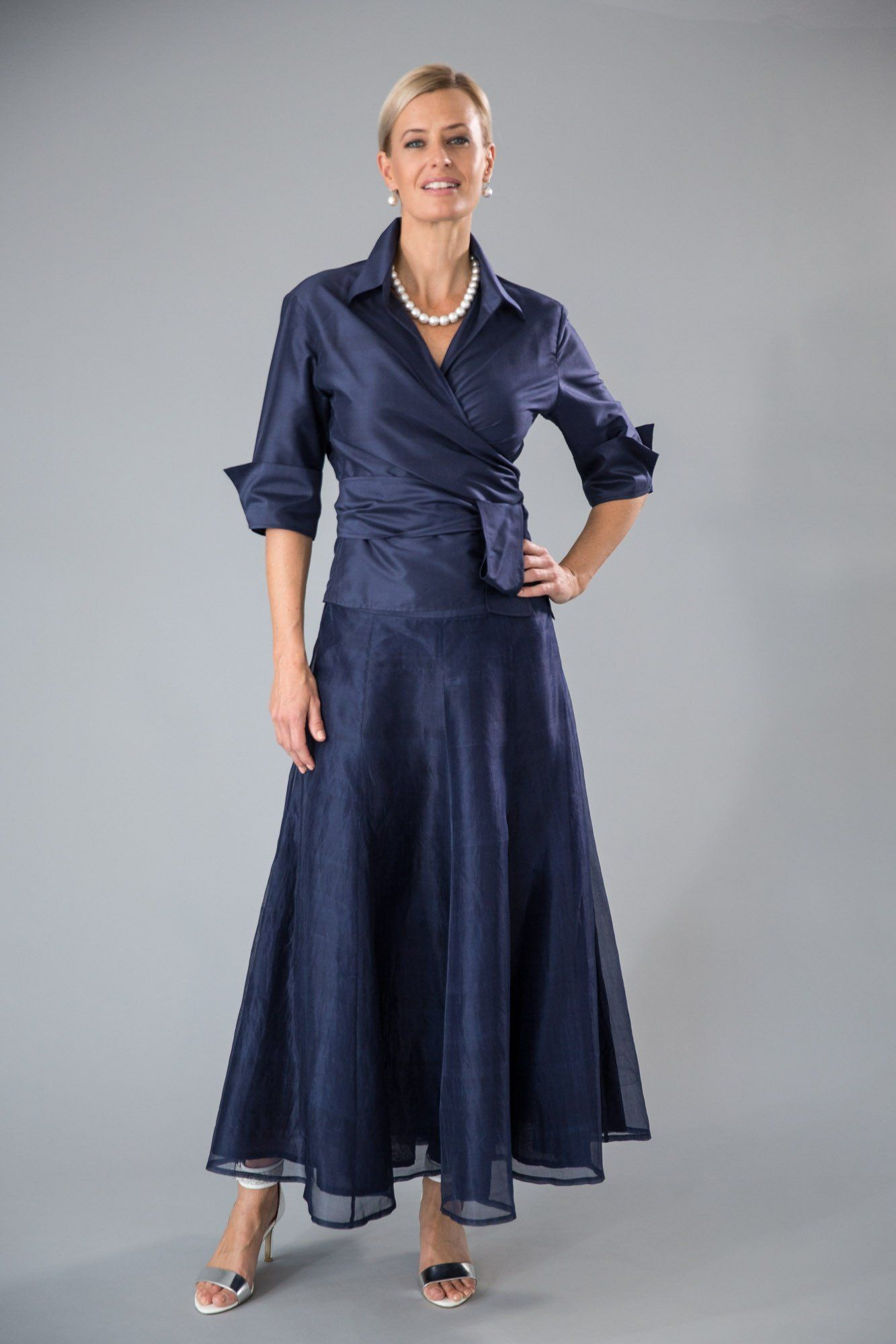 7bf511c8b28 Midnight Blue  Navy Blue - Classic elegance for the modern and elegant  mother of the bride and mother of the groom. The pure silk Classic Wrap  Shirt has 3 4 ...