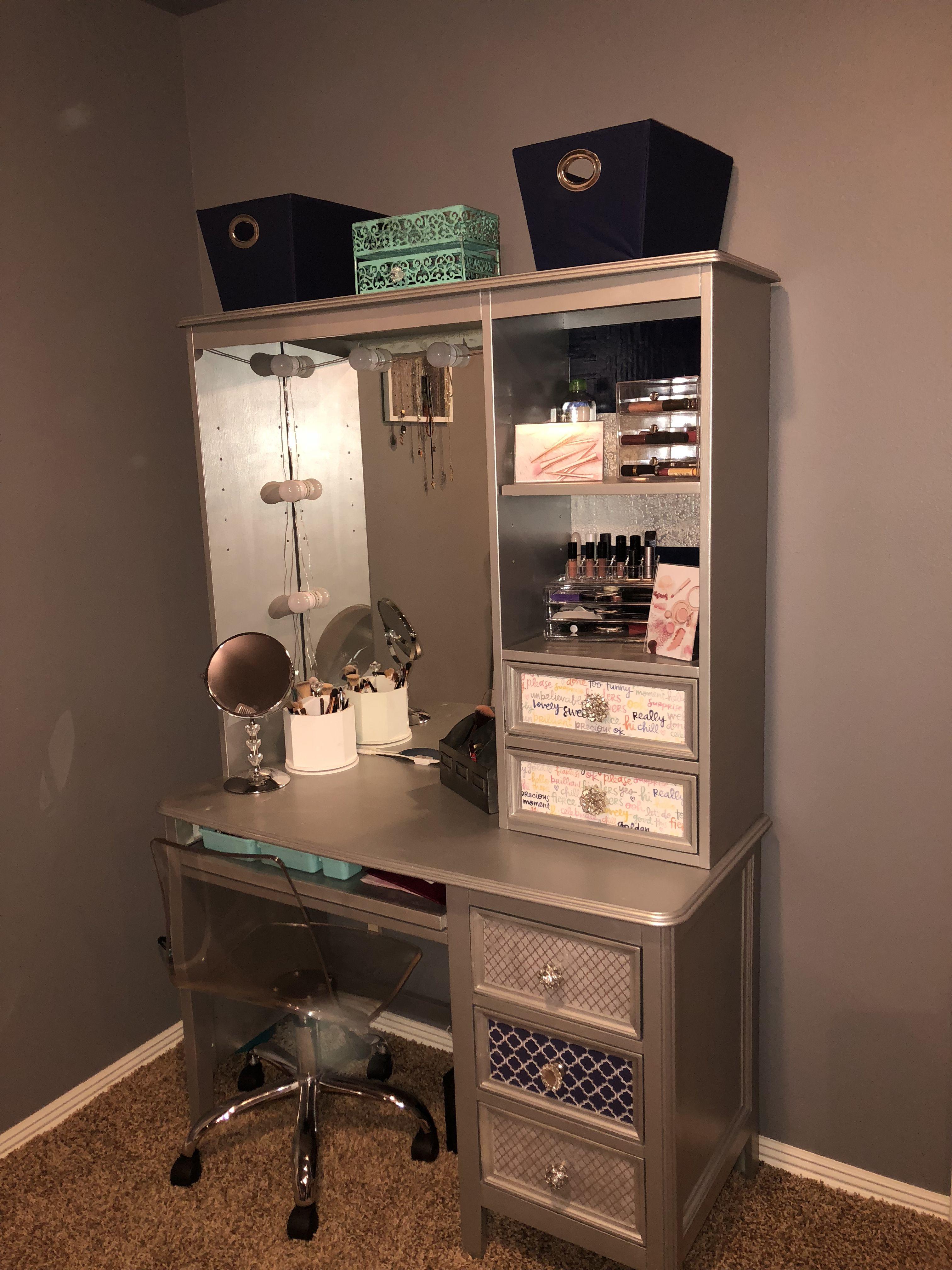 From Computer Desk To Makeup Vanity In 2019 Desk To