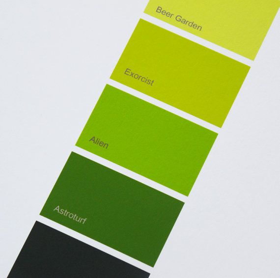 ART PRINT Funny Gift Yellow Green Paint Chip Pantone Poem