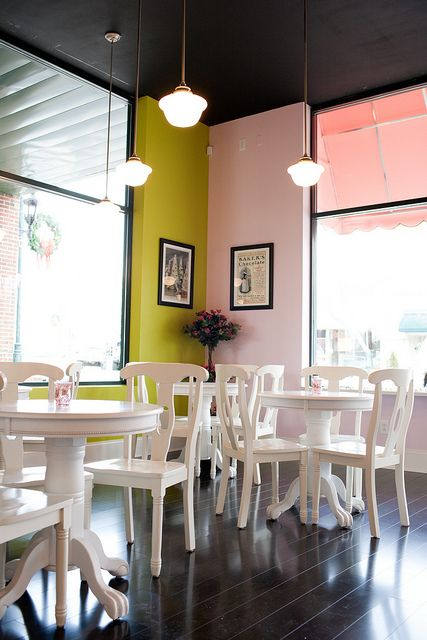 Love the lighting and tables - pretty wall colors, too!