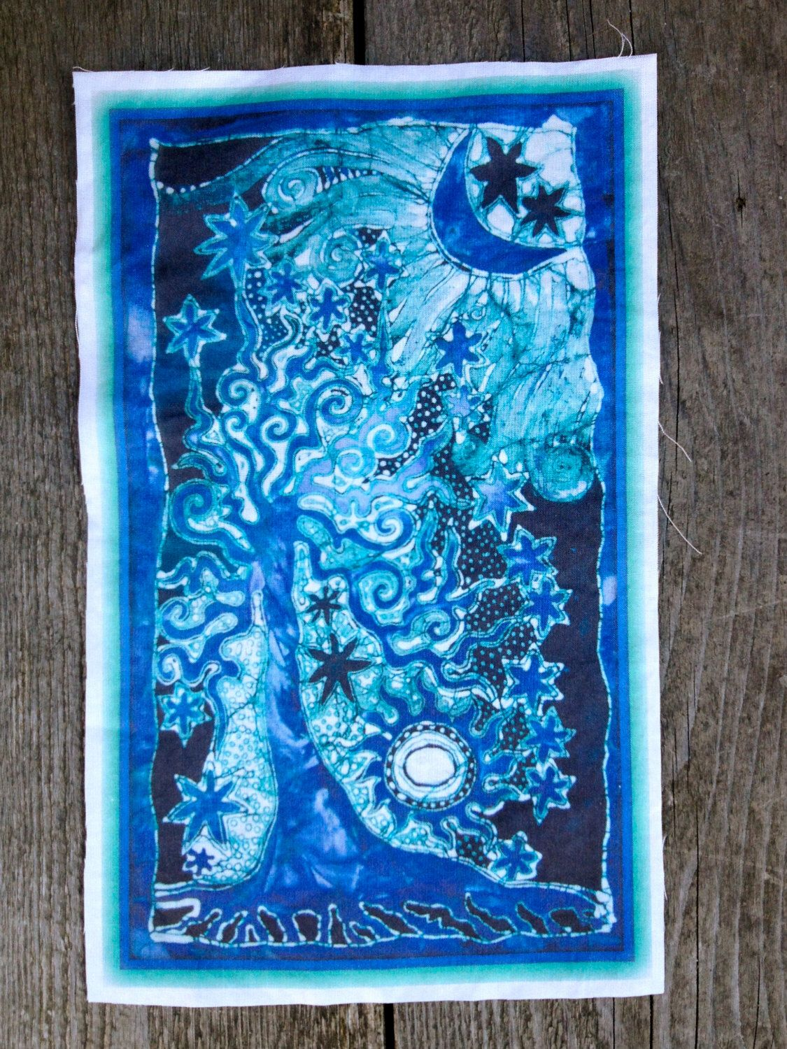 Teal and purple tree batik print patch by batikwalla on etsy