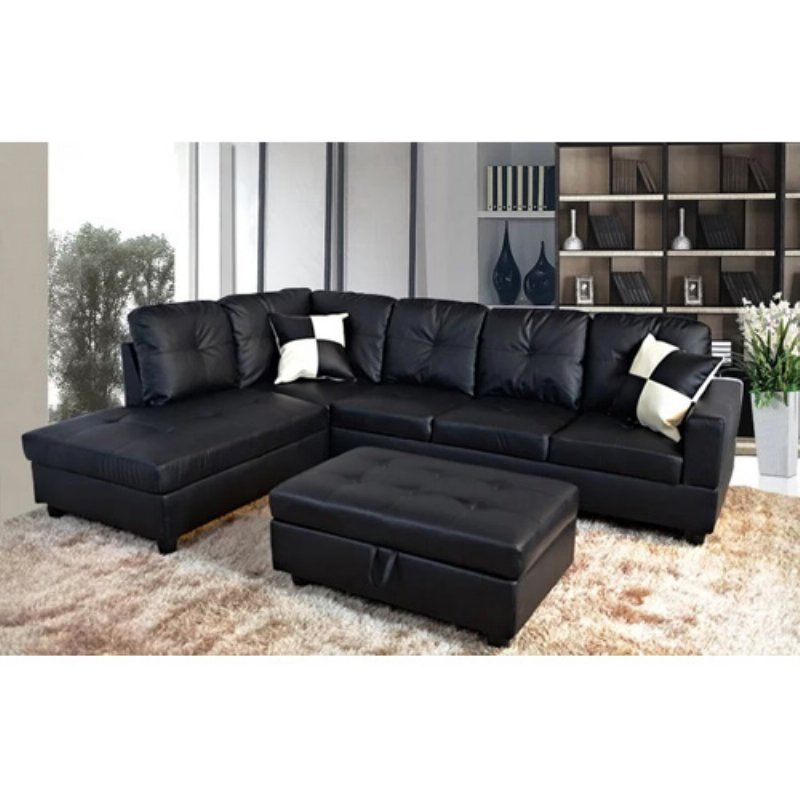 Hgc Contemporary L Shaped Faux Leather Sectional Sofa With Ottoman