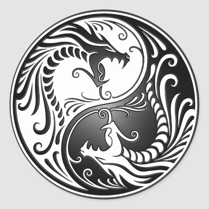 Yin Yang Dragons Classic Round Sticker | Zazzle.com