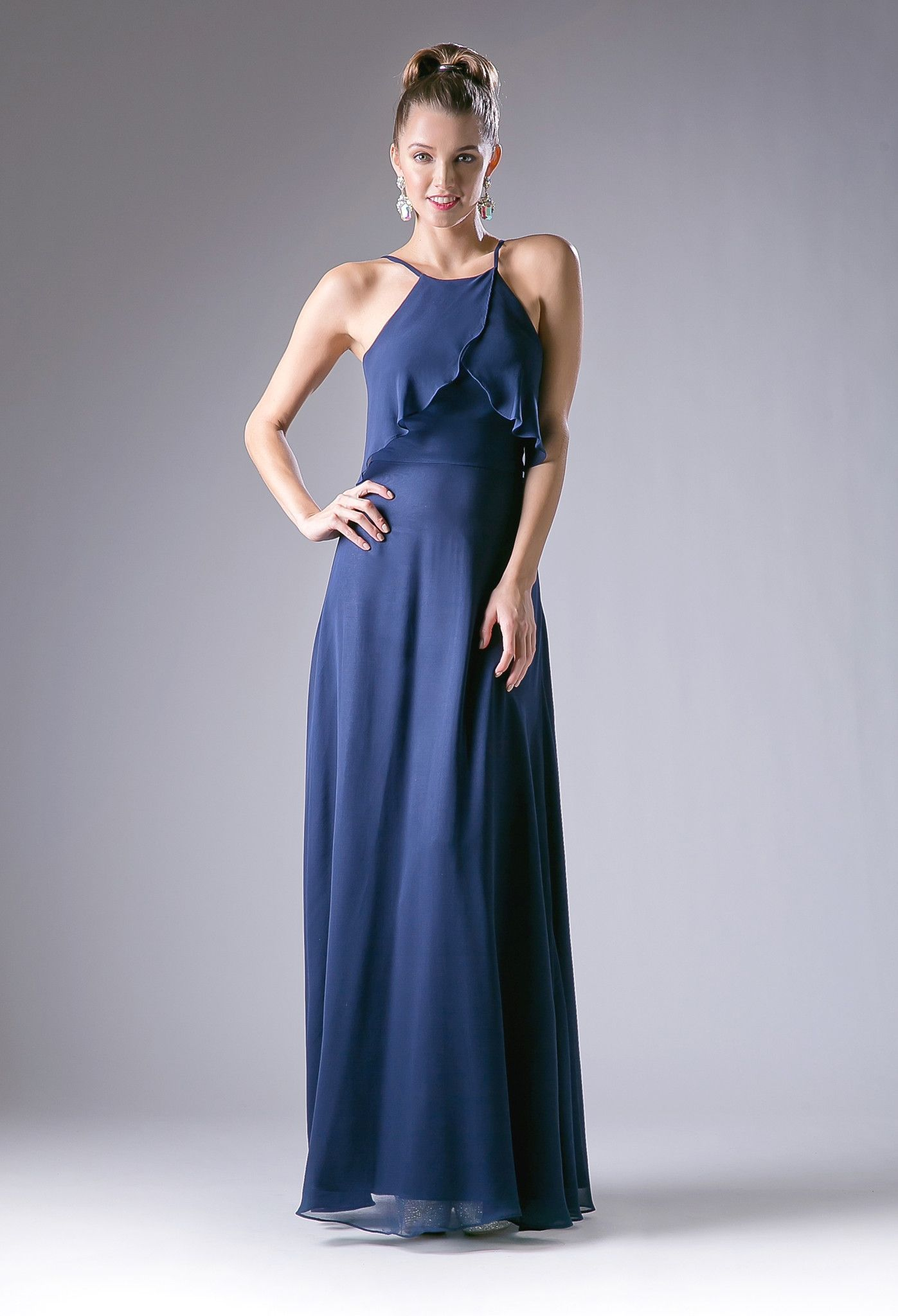 Flounce evening dress with spaghetti straps by cinderella divine