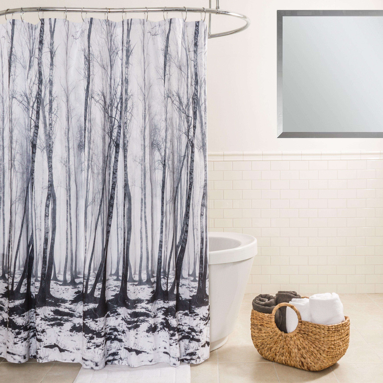 Splash Home Fog Forest Green Black And White Fabric Shower