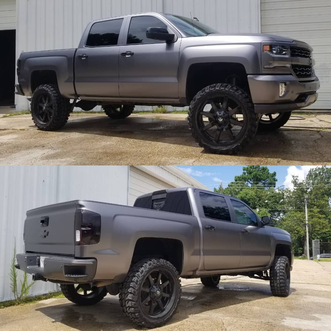 Silverado Fully Wrapped In Satin Dark Grey With All Accents