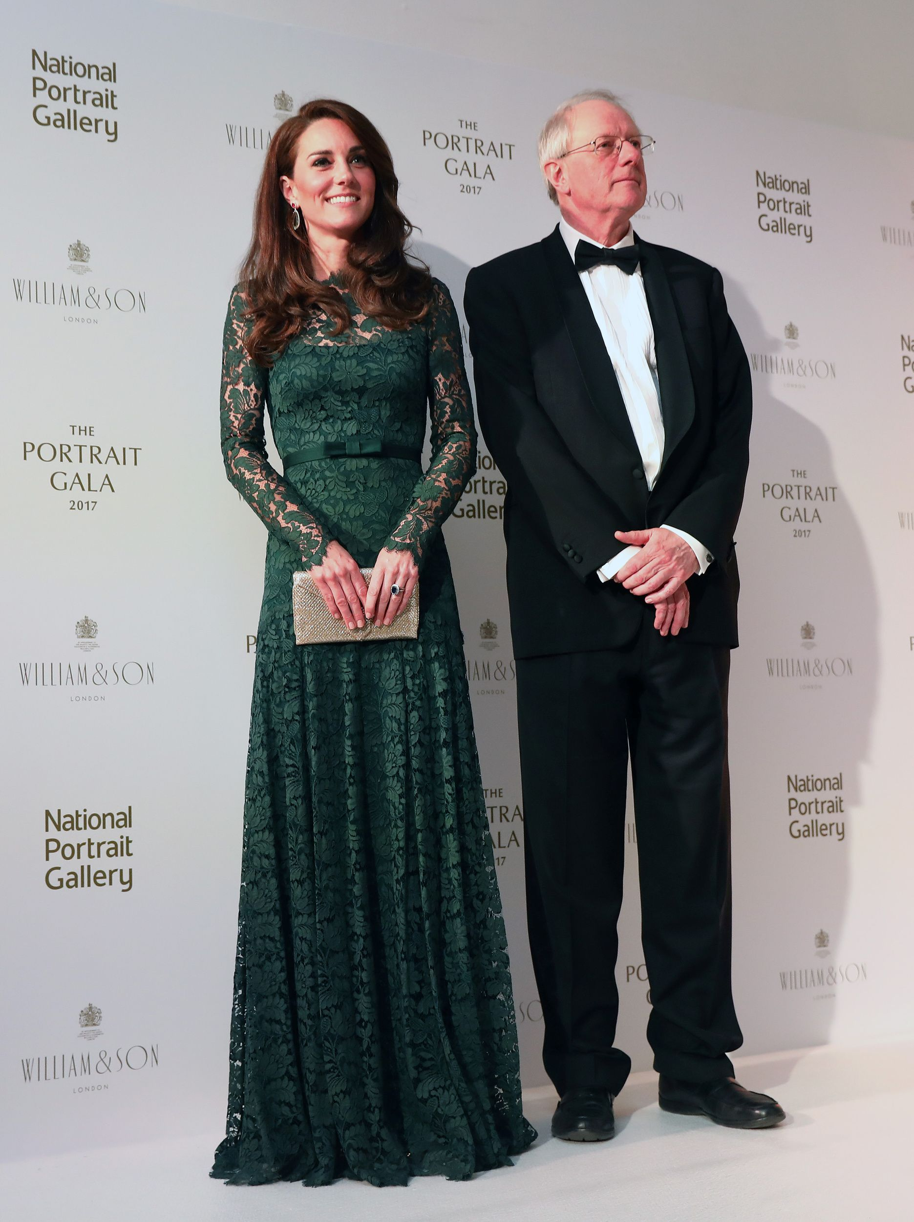 Britain S Catherine Duchess Of Cambridge Stands With Chair Of Trustees William Proby At The 2017 Portrait Gala At The National Kate Dress Duchess Duchess Kate