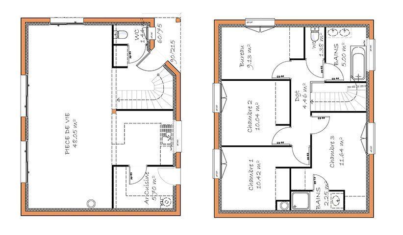 Maison Traditionnelle A Etage 120 M 4 Chambres Plan Maison 4 Chambres Plan Maison Etage Plan Maison 120m2