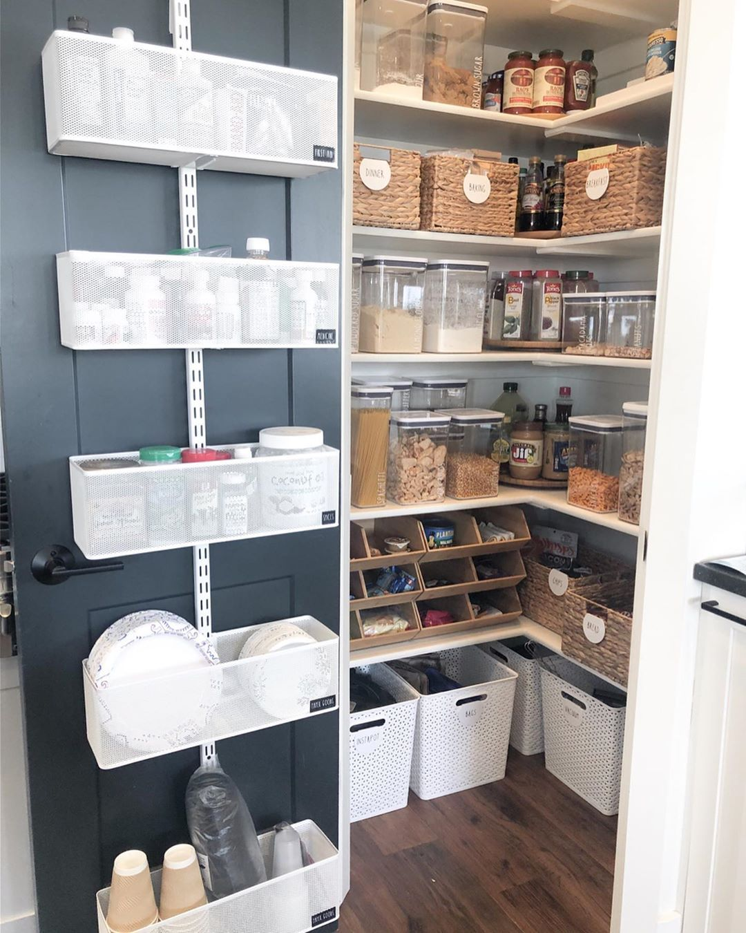 "Simply Better Organization on Instagram: ""In this corner pantry we created more room by adding an Elfa door rack. I love how it looks on this black door �. We created zones and most…"""