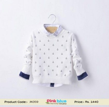 c8784d167fa White Sweater for Boys with Blue Anchor Design