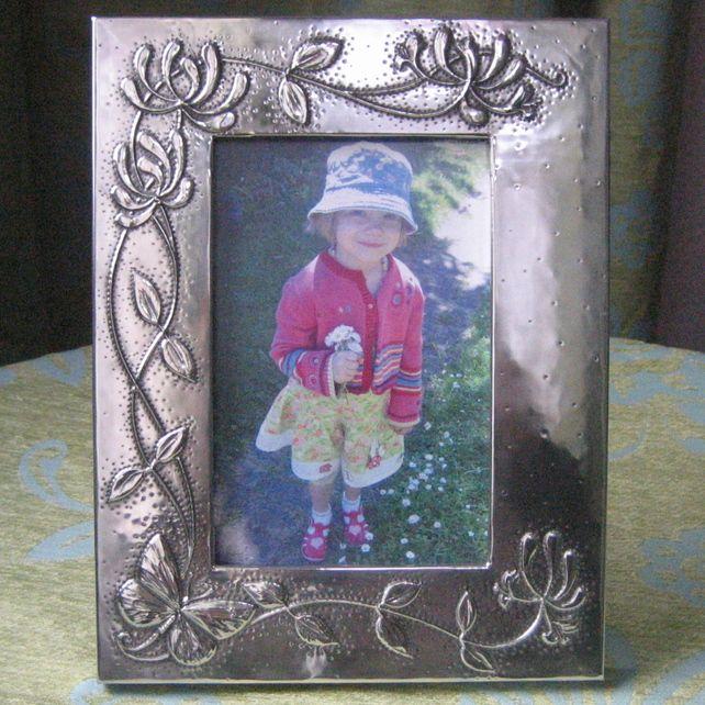 Handmade Silver Pewter Frame, Butterfly and Honeysuckle Design