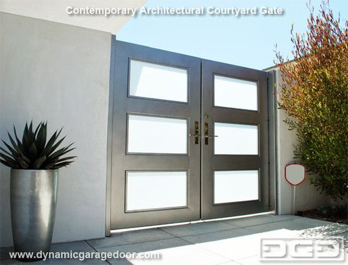 Contemporary Gate With Frosted Glass Insets Contemporary Garage