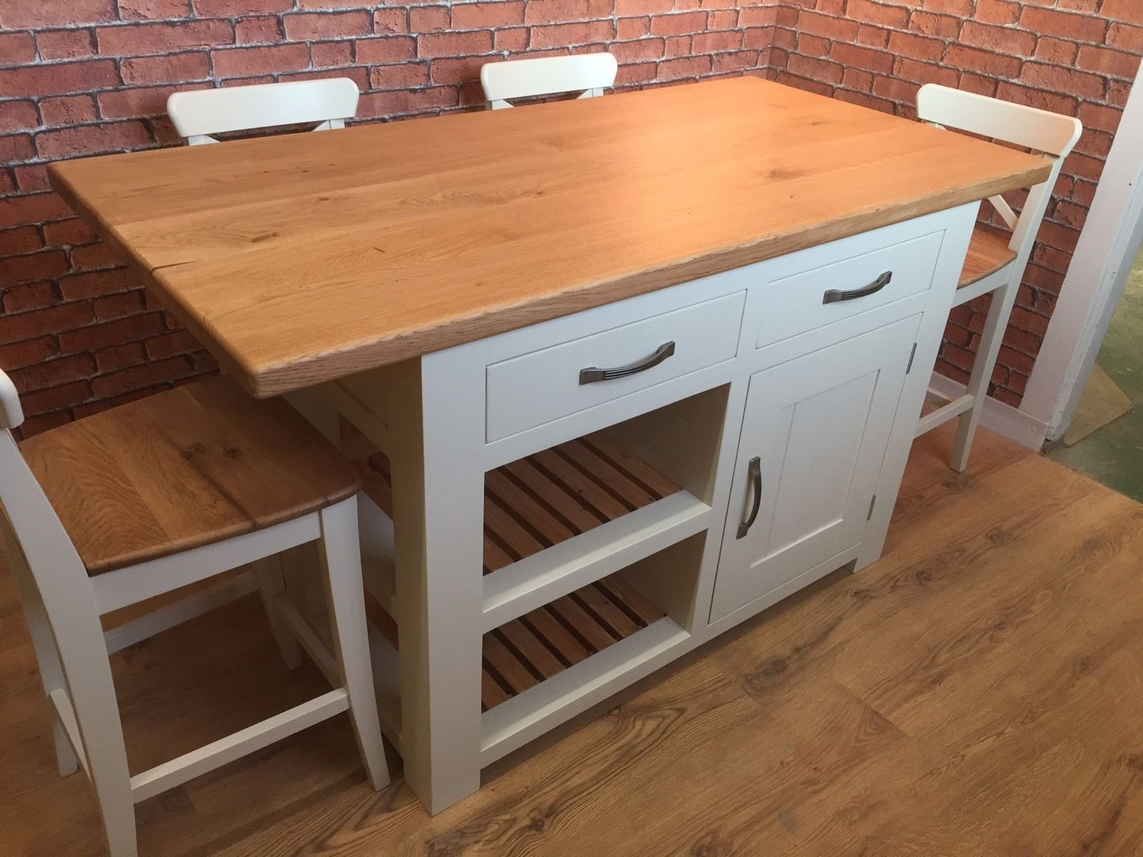 Handmade Kitchen Island - Solid Oak Top - Breakfast Bar - Bar Stools ...