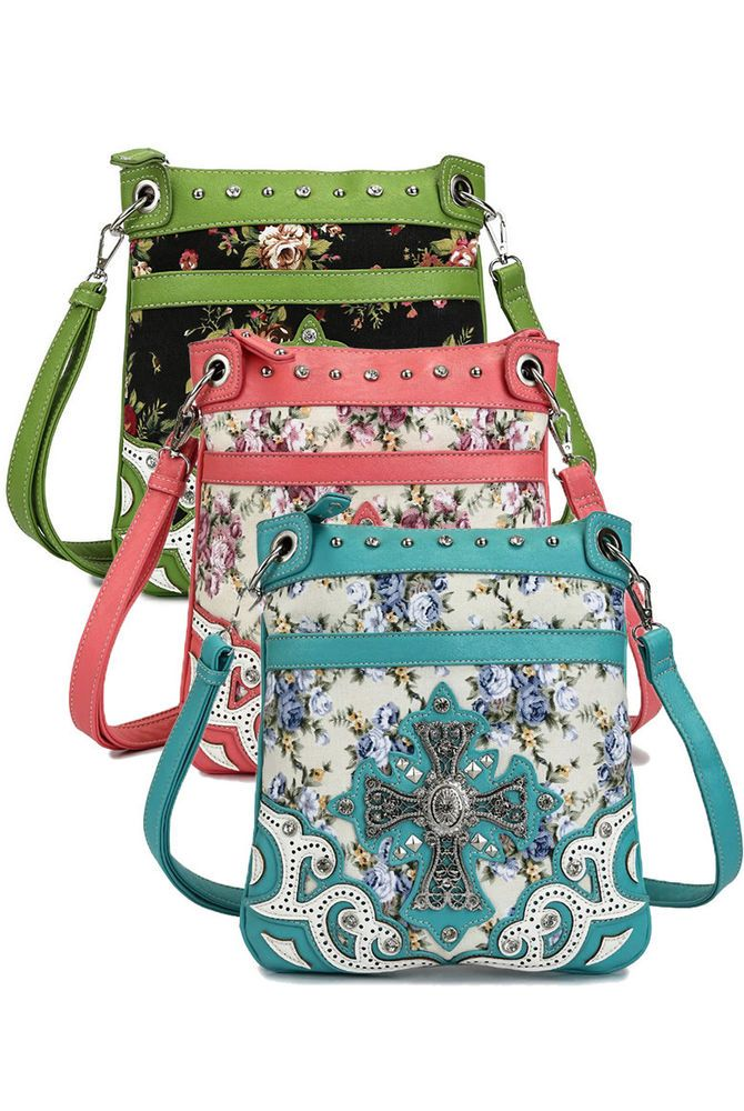 Western Cowgirl Floral Print Cross Design Cross Body Messenger Bag