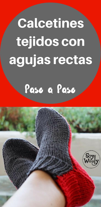 Calcetines tejidos en dos agujas rectas, no circulares | Pinterest ...