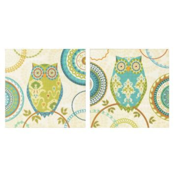 Owl Forest Canvas Art Print, Set of 2.  Love these owls, under $40 at Kirklands.