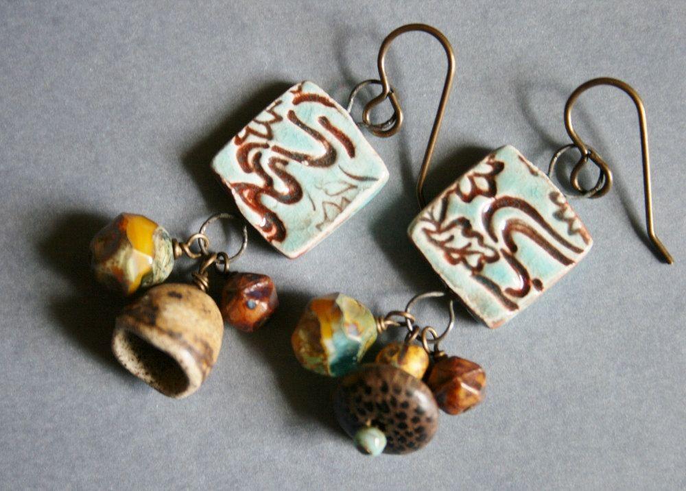 Ceramic Coffee House Earrings. $28.00, via Etsy.