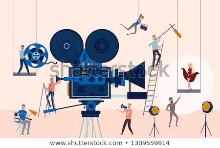Making Movie Video Production Template With Small People In The Process Of Shooting A Movie Editab Vector Illustration Isometric Illustration Poster Template