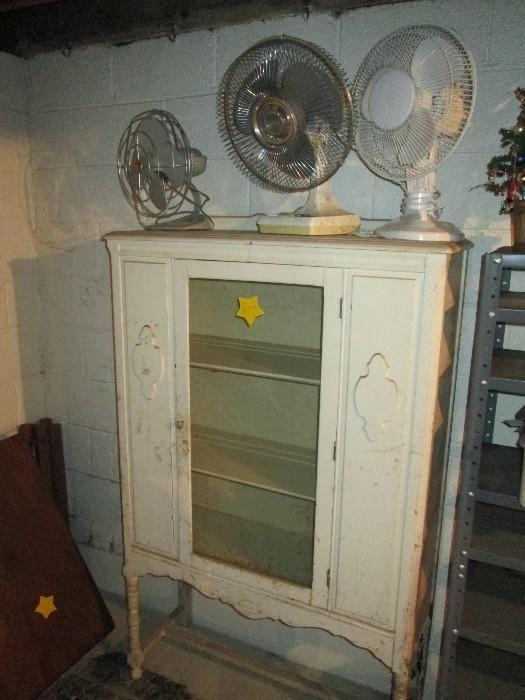 Found On Estatesales 3 Circular Fans And Antique Buffet Storage