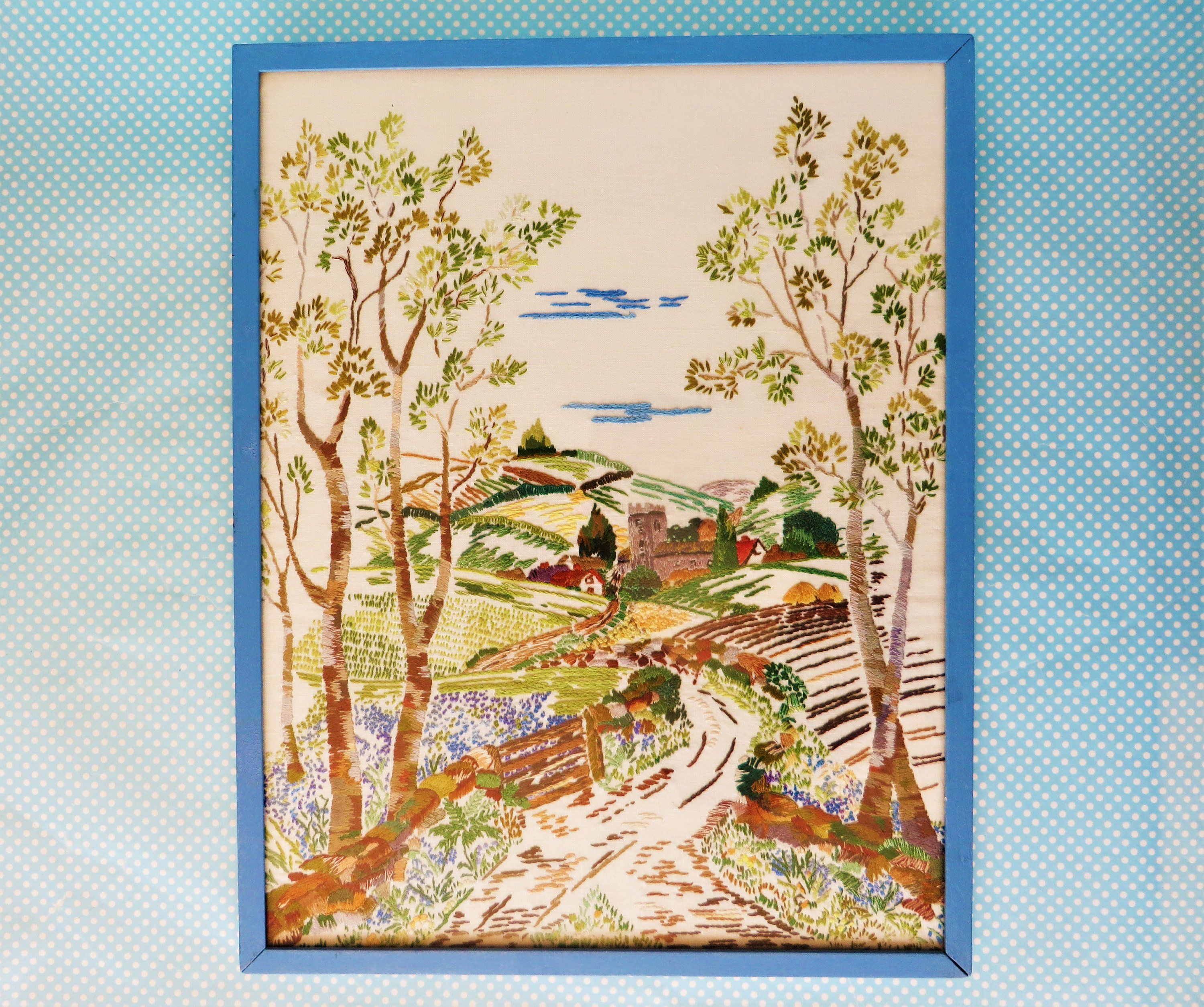 Large vintage embroidered English countryside framed picture by  MrsSmallsWonders on Etsy