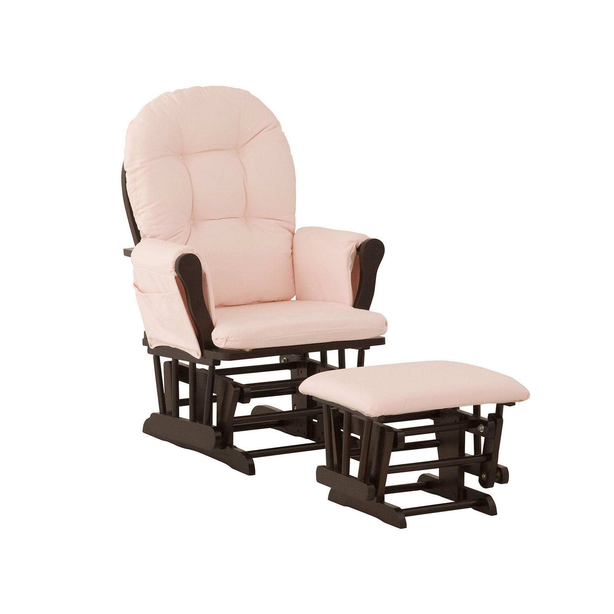 Cherry//Beige Graco Parker Semi-Upholstered Glider and Nursing Ottoman