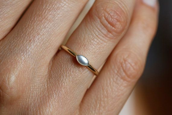 Rose or Yellow Vermeil Sterling Silver Marquise Shaped Pearl Engagement Ring 14k or 18k Solid Gold