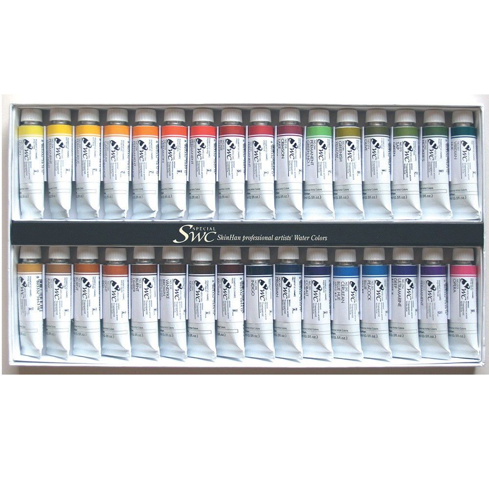 Shinhan Premium Extra Fine Watercolour Paint 15ml Set Of 32