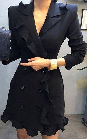 Ruffle Mini Blazer Black Lapel Trim Dress Double breasted LGUzVMpqS