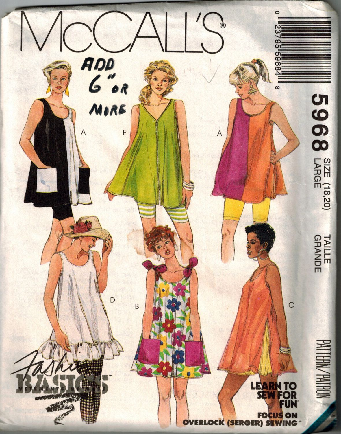 Vintage 90s Trapeze Tunic Sewing Pattern Sleeveless Tunic Large Bust ...