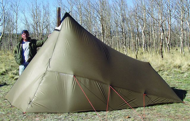 Kifaru Sawtooth teepee/tent. Used with an ultra lightweight backpackable stove for 4 season & Kifaru Sawtooth teepee/tent. Used with an ultra lightweight ...