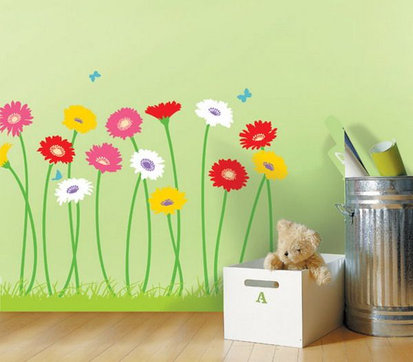 Artistic flower wall mural design for girls room can i do for Mural flower