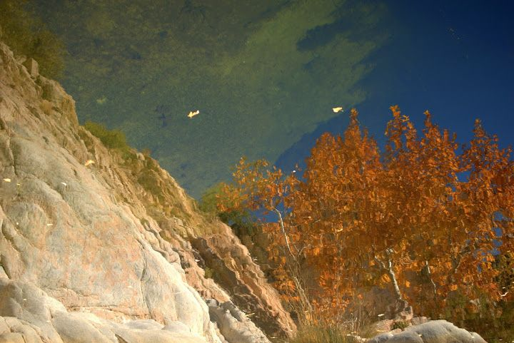 Autumn reflection in the Mojave River at Deep Creek hot ...